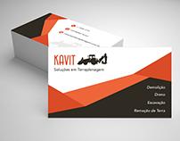 """Cartão de visita para """"Kavit Soluções em Terraplenagem"""""""