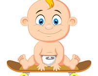 Bebê skate - vetor