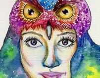 Ilustración en acuarela y lápices de colores