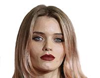 Retrato Pintura Digital de la Modelo & Actriz Abbey Lee