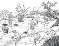 Ilustração colheita do arroz - Cartão de fim de ano