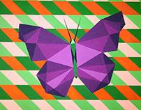 Mariposa pintada a mano con pintura al frío