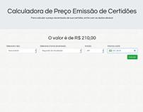 Calculadora de Preço para Emissão de Certidões   php