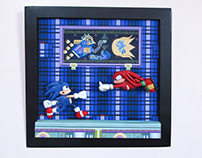 Sonic and Knuckles handmade wall frame
