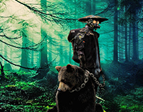 Bear and hunter // Photoshop and Lightroom