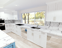 Kitchen and Family room design. USA