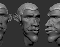 Obama Cartoon Head Sculpt in Zbrush