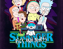 Poster I Stranger Things: Rick And Morty Version