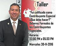 Flyer para evento en Colegio de Contadores.