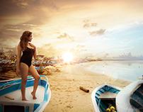 Ilustración de mi esposa en la playa de Puerto Engabao