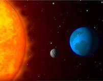 La luna, la tierra y el sol