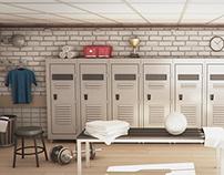Football locker room - 3D