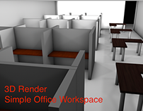 Simple Office Work Space 3D Render