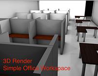 Simple Office Work Space 3D Render