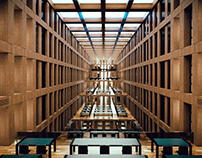 3d interior. Library in Berlin