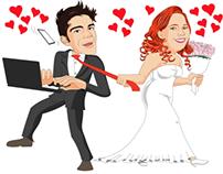 Minha primeira caricatura de casamento