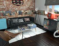 3D - Sala Estilo Retro