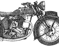 Triumph motorcycle ink drawing
