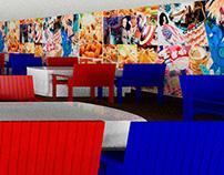 3d render  - Maqueta restaurante Sala USA