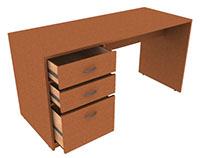 Escritorio de madera de 1 ala (Modelo 3D)