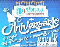 Anúncio de Aniversário Bonna Lavanderia.