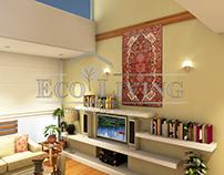 Living Room - Corridor Interior Rendering