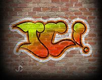 Ilustracion estilo graffiti, iniciales.