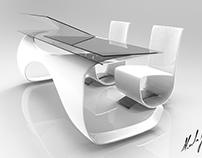 Mesa e cadeiras ergonômicas para alunos de Design