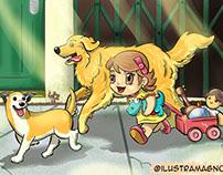 Garota com cachorros