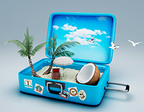 3d Travel suitcase. beach vacation concept.