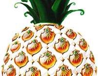 acrylic paint - pineapple