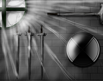 """Cenário """"Sala de Armas"""" - Projeto Gears of Heroes."""