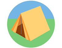Icon set: going camping