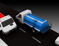Modelado 3D esquema de corte y planimetría del camión