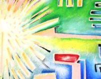 """projeto pintura """"30x30"""". título: """"Big Bang"""""""