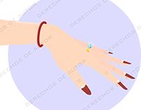 Diseño Vectorizado de mano con joya