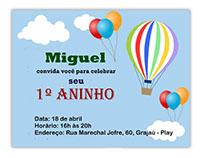 Convite para o aniversário do Miguel