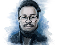 Digital Water Color Portraits for a My Team Work