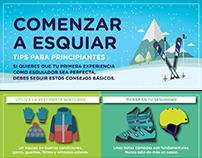 COMENZAR A ESQUIAR: Infografía para Viví la nieve
