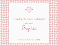 Cartões para o batizado da Sophia