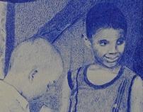 Ilustración en lápiz de color -monocromo-
