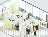 Low poly isometric office