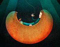 """""""The skylight room"""" / Ilustraciones para cuento."""