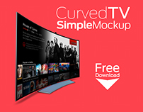 Curved TV Simple MockUp - Free Download