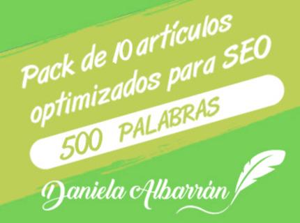 Pack 10 artículos optimizados SEO 500 palabras