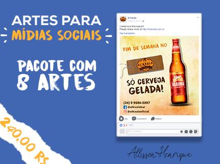 Pacote com 8 artes para facebook e instagram