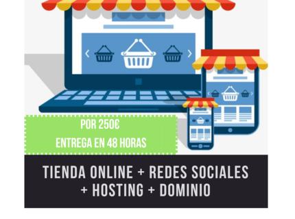 Tienda online + redes sociales + hosting + dominio