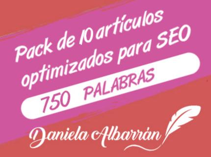 Pack 10 artículos optimizados SEO 750 palabras