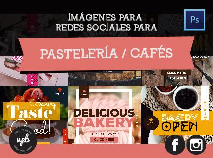 Imágenes en redes sociales. Pastelerías - Cafés