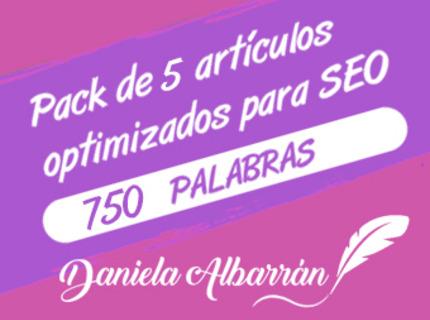 Pack 5 artículos optimizados SEO 750 palabras